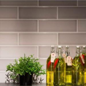 Johnson Savoy SAVO6A Brick Steel Gloss Ceramic Wall Tile (300x100mm)