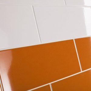 Johnson's Vivid White and Orange Wall Tiles
